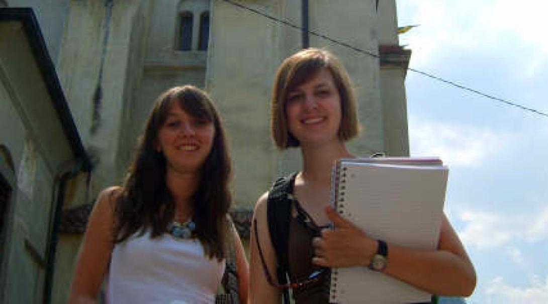 interns at work at our journalism placement in Romania